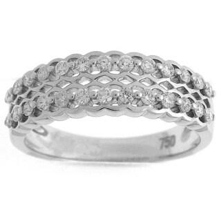 Azaro 18k White Gold 2/5ct TDW Diamond Scallop Fashion Ring