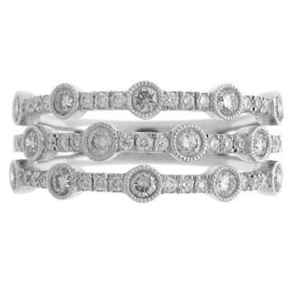 Azaro 18k White Gold 5/8ct TDW Diamond Multi-row Band Ring