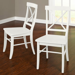Simple Living Albury Dining Chairs (Set of 2) (Rubberwood - Traditional - White - Painted - Side Chairs - Wood)