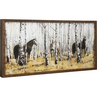 Anastasia C. 'Horse in the Forest' 17X34 Framed Wall Art - Brown
