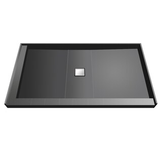 Wonder Drain 37 inch D x 60 inch W Fully Integrated Shower Pan with Center PVC Wonder Drain with Left Dual Curb