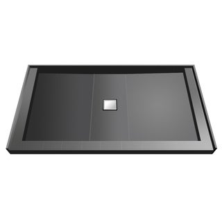 Wonder Drain 34 inch D x 60 inch W Fully Integrated Shower Pan with Center PVC Wonder Drain with Triple Curb