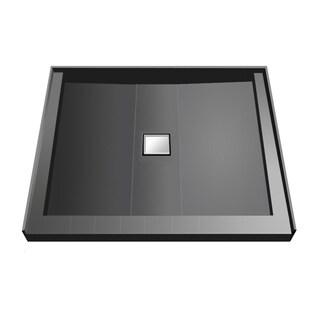Wonder Drain 48 x 48 Triple Curb Shower Pan Tileable Center Top