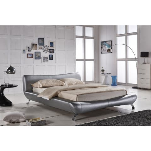 Joyce Sliver Synthetic Leather Contemporary Platform Bed
