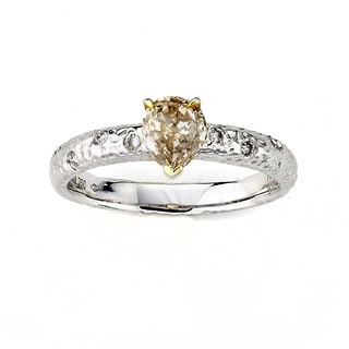 Diamonds for a Cure 18k Two-tone Gold 4/5ct TDW Pear-cut Yellow Diamond Hammered Ring (G-H, VS1-VS2)