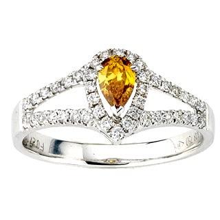 Diamonds for a Cure 18k White Gold 5/8ct TDW Orange Pear-cut Diamond Ring (G-H, SI1-SI2)
