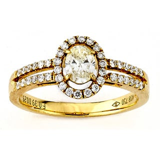 Diamonds for a Cure 18k Yellow Gold 3/4ct TDW Yellow Oval and White Diamond Ring