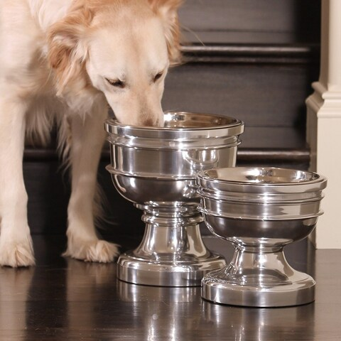 Finley Polished Cast Aluminum Raised Chalice Pet Bowl