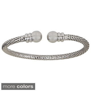 Decadence Sterling Silver Popcorn Rounded End Cuff Bracelet