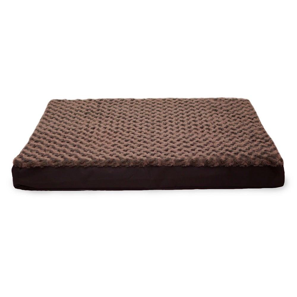 FurHaven Ultra Plush Deluxe Memory Top Pet Bed (Brown - L...