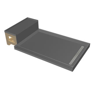 Base'N Bench 34x60 Shower Pan Right PC Trench w Seat