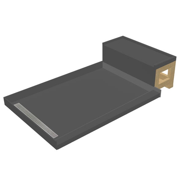 Base'N Bench 34x60 Shower Pan Left BN Trench w Seat