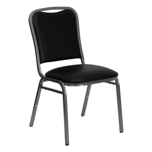 Hercules Series Stacking Banquet Chair with Black Vinyl and 1.5-inch Thick Seat and Silver Vein Frame