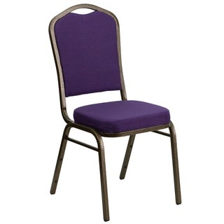 Hercules Series Crown Back Stacking Banquet Chair with Purple Fabric and 2.5-inch Thick Seat and Gold Vein Frame