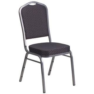 Hercules Series Crown Back Stacking Banquet Chair with Black Patterned Fabric and 2.5-inch Thick Seat and Silver Vein Frame