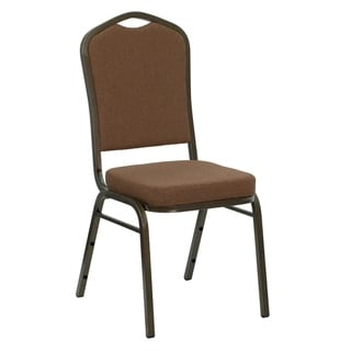 Crown Back Stacking Banquet Chair in Coffee Fabric - Gold Vein Frame