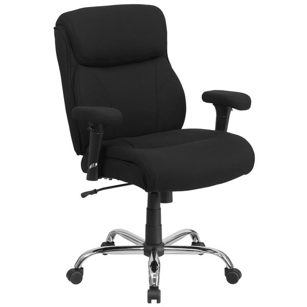 Big & Tall 400 lb. Rated Mid-Back Black Fabric Ergonomic Task Office Chair