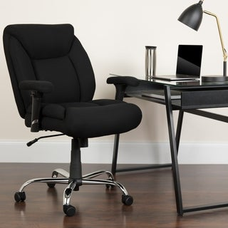 Hercules Series 400-pound Capacity Big and Tall Black Fabric Task Chair with Height Adjustable Arms
