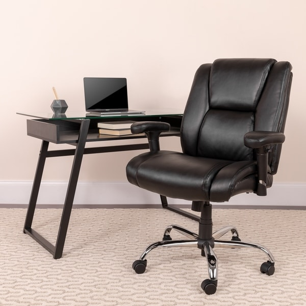 Big & Tall 400 lb. Rated Black LeatherSoft Chair w/Chrome Base & Adjustable Arms
