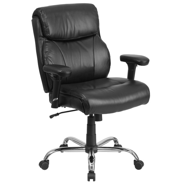 Big & Tall 400 lb. Rated Mid-Back Black LeatherSoft Ergonomic Task Office Chair
