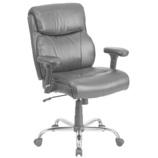 Hercules Series 400-pound Capacity Big and Tall Black Leather Task Chair with Height Adjustable Arms