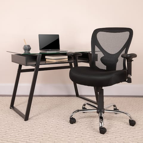 Hercules Series 400-pound Capacity Big and Tall Black Mesh Office Chair with Height Adjustable Back and Arms