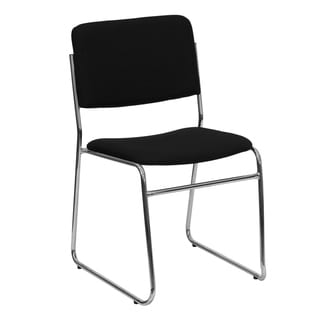 1000 lb. Capacity Black Fabric High Density Stacking Chair with Chrome Sled Base