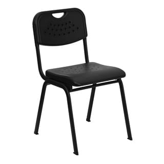880 lb. Capacity Black Plastic Stack Chair with Open Back and Black Frame