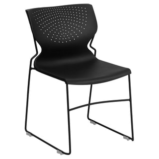 Hercules Series 661-pound Capacity Black Full Back Stack Chair with Black Frame