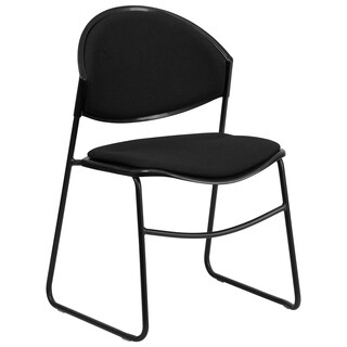 Hercules Series 550-pound Capacity Black Padded Stack Chair with Black Powder Coated Frame Finish