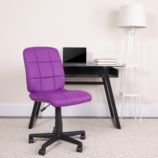 Office Chair Mid-Back Purple Quilted Vinyl Task Chair