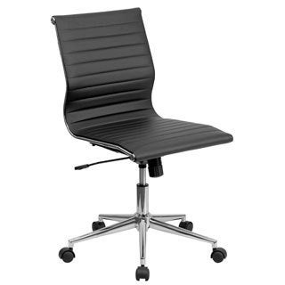 Mid-Back Armless Ribbed Upholsteleather Conference Chair (Option: White)
