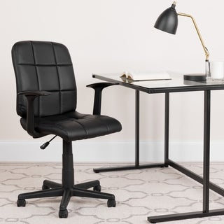 Mid-Back Quilted Vinyl Swivel Task Office Chair with Arms - Home Office