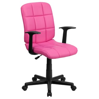 Mid-Back Quilted Vinyl Task Chair with Nylon Arms (Option: Pink)