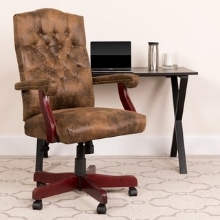 Bomber Brown Classic Executive Swivel Office Chair with Arms - Task Chair