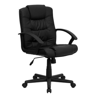 Mid-Back Black LeatherSoft Ripple &Accent Stitch Upholstered Swivel Office Chair