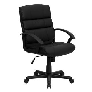 Mid-Back Black LeatherSoft Swivel Office Chair with Accent Divided Back and Arms