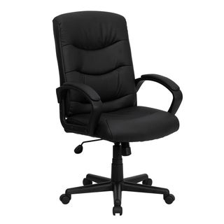 Mid-Back Black LeatherSoft Office Chair with Three Line Horizontal Stitch Back