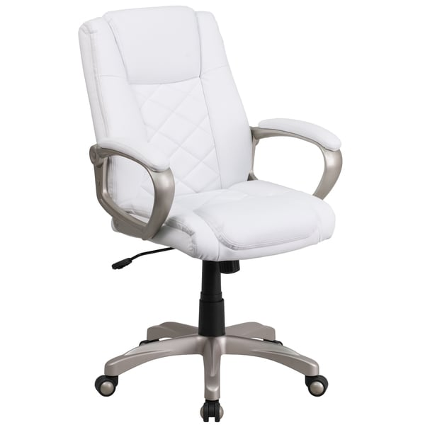 high back white leather executive office chair with gold nylon