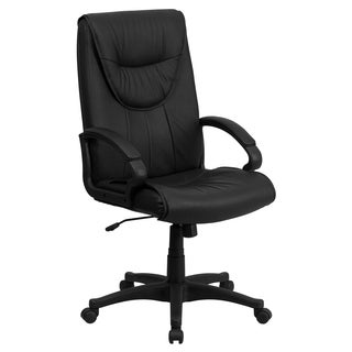 High-back Black Leather Executive Swivel Office Chair
