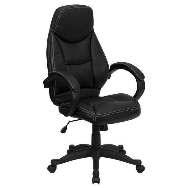 Black Leather High Back Contemporary Office Chair