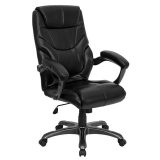 High Back Overstuffed Black Leather Executive Office Chair