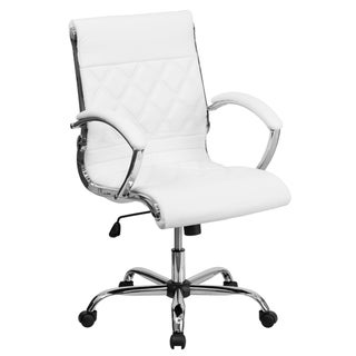 Mid-Back Designer Leather Executive Office Chair with Base