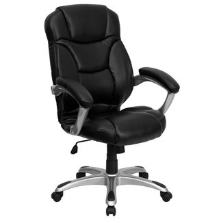 High Back Black LeatherSoft Swivel Ergonomic Office Chair with Silver Nylon Base