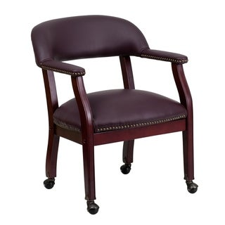 Burgundy LeatherSoft Conference Chair w/Accent Nail Trim &Casters - Side Chair