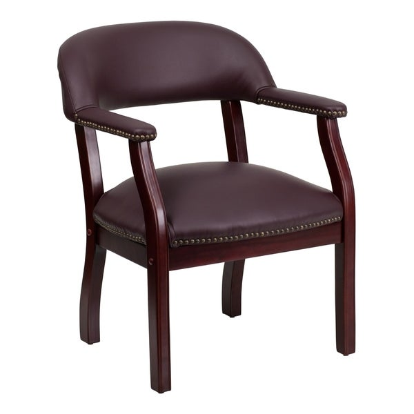 Burgundy LeatherSoft Conference Chair with Accent Nail Trim - Library Chair