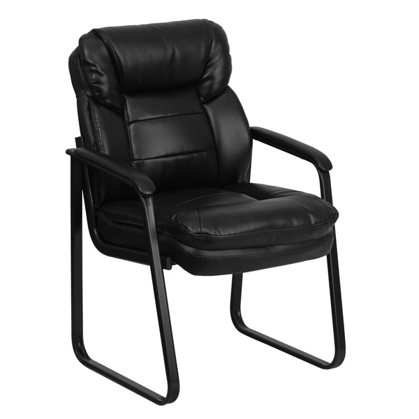 Black LeatherSoft Executive Side Reception Chair w/Lumbar Support &Sled Base