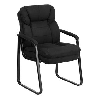 Microfiber Executive Side Reception Chair with Lumbar Support & Sled Base