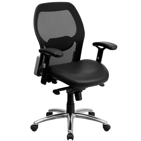 mid back super mesh office chair with black leather seat and knee