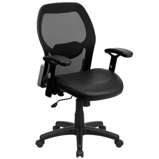 Mid-Back Super Mesh Office Chair with Black Leather Seat